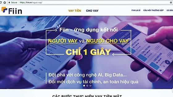 Giao diện của trang tài chính Fiin quảng bá cho vay theo hình thức P2P.