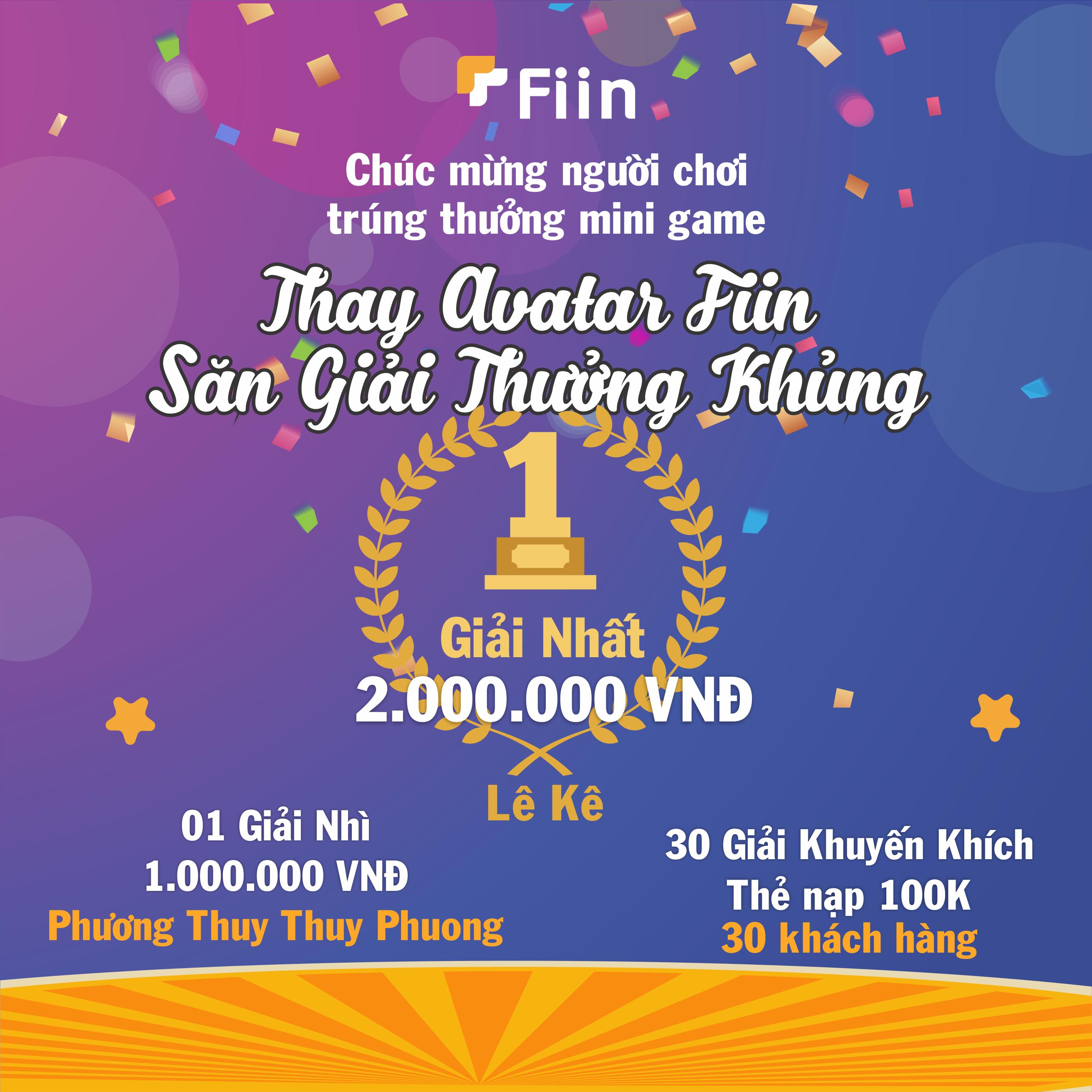 Fiin Credit công bố giải thưởng mini game thay avatar Fiin