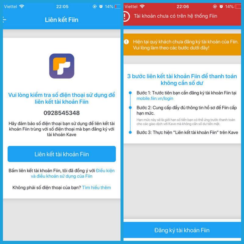 Thông tin màn hình hiển thị khi số điện thoại đăng nhập trên Kave của bạn chưa có tài khoản Fiin