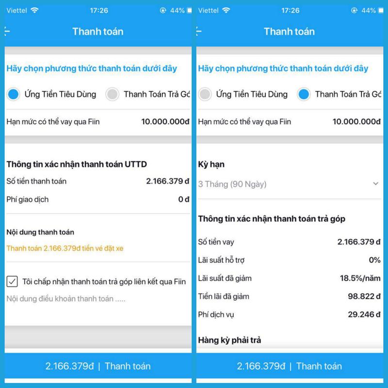 Chọn cách thanh toán Ứng tiền tiêu dùng hoặc Thanh toán trả góp của Fiin