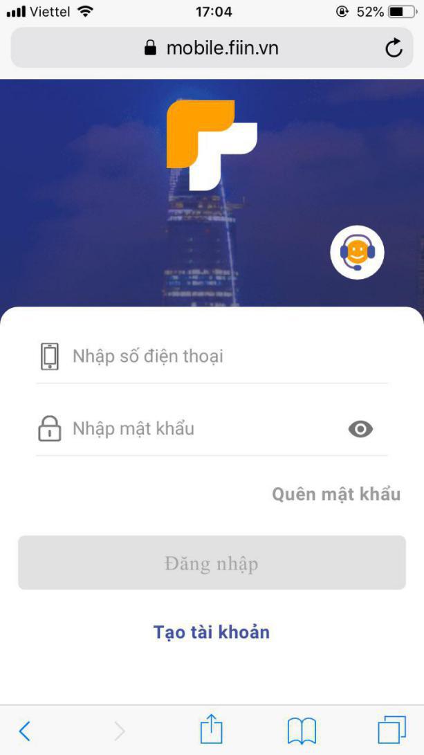 Màn hình đăng nhập Fiin trên HĐH IOS