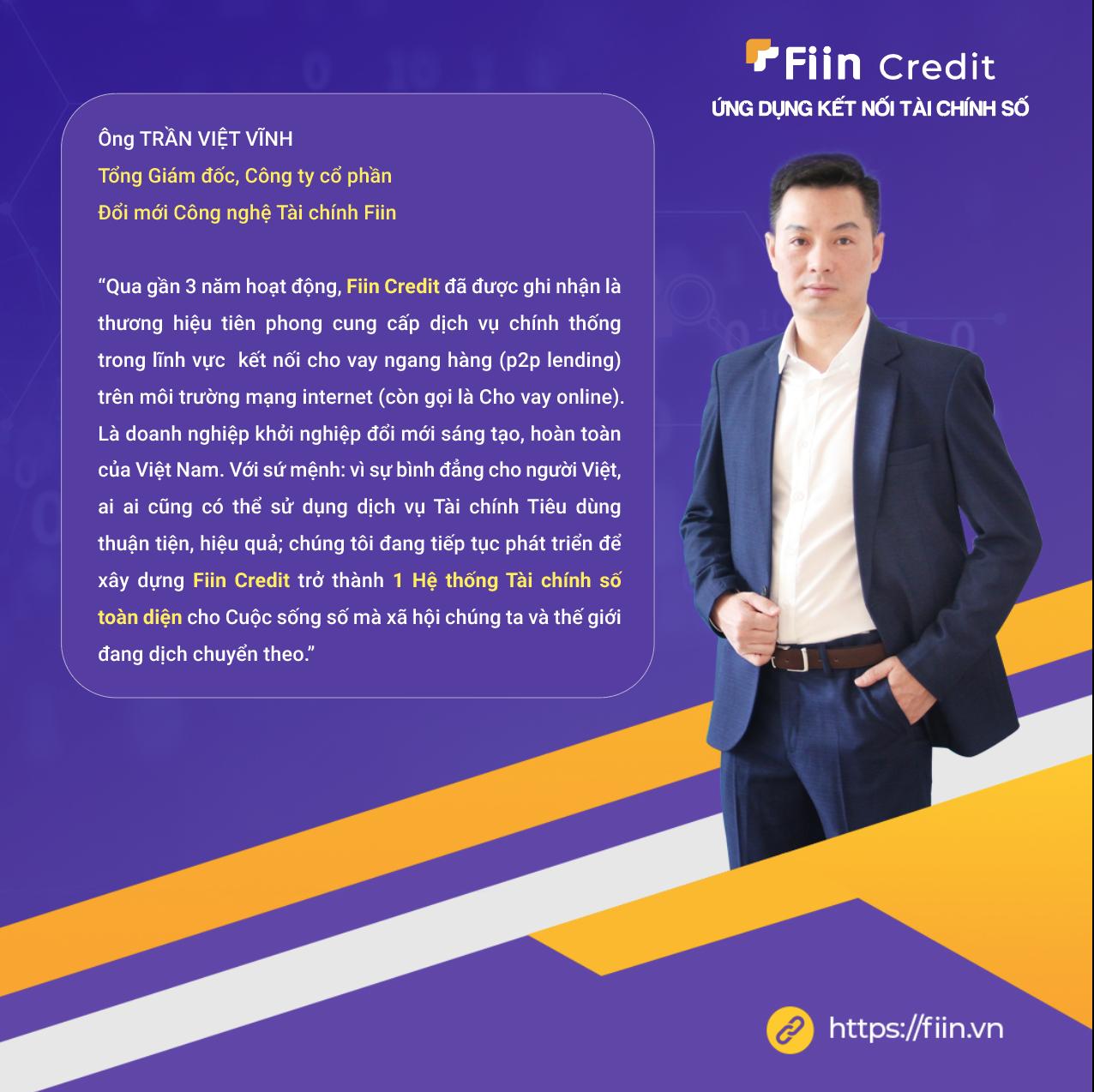 CEO của Fiin - ông Trần Việt Vĩnh đã có kinh nghiệm gần 20 năm làm việc trong lĩnh vực tài chính