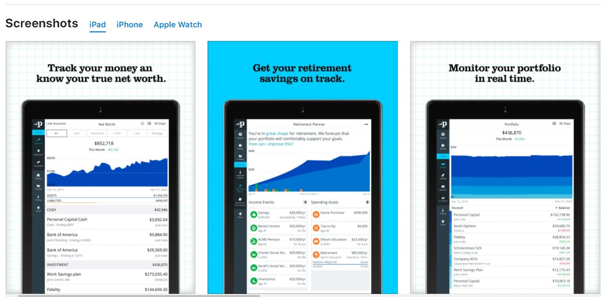 Nguồn ảnh Appstore: Personal Capital: Investment, Finance, Retirement