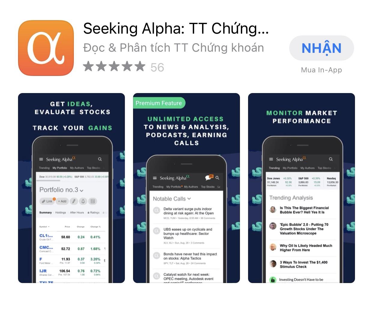 Ứng dụng SEEKING ALPHA - Đọc và phân tích chứng khoán
